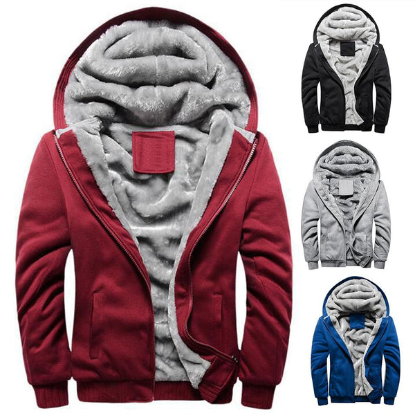 Winter Jacket Men's High-Quality Polyester + Spandex Coat Casual Slim Coat Men's  Hooded  Coat Chic Men Warm Zip Up Coat Outwear