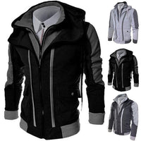 Casual Men Jackets Coats Winter Thick Warm Zipper Hooded Jackets Fake Two Pieces Sports Sweatshirt Men's Clothing dispel cold