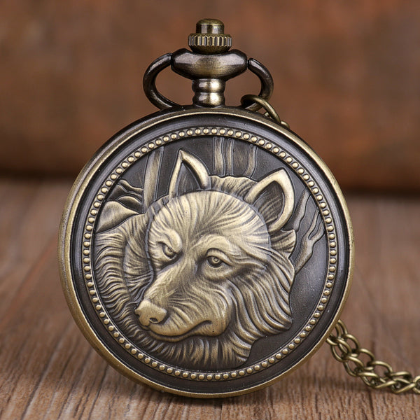 Antique Vintage Retro Bronze Wolf Pocket Watches Men Women Dog Quartz Pocket Watches Necklace Chain Best Gifts