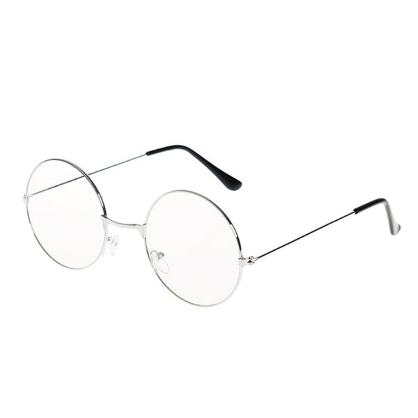 3 Colors Man Woman Retro Large Round Glasses Transparent Metal eyeglass frame Black Silver Gold spectacles Eyeglasses