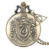 Retro Bronze Hogwarts School H Quartz Pocket Watch Analog Necklace Pendant Chain Women Mens relogio Montres with Gifts Accessory