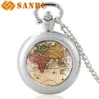 Retro World Map Silver Quartz Pocket Watch Vintage Men Women Classic Map Pendant Necklace