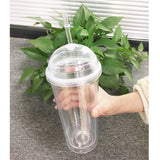 20oz Milk Tumbler with Dome Lids Double Wall Plastic Drink Cups With Straw Reusable Clear Water Bottle Transparent Fruit Cup