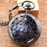 Luxury Hollow Gear Mechanical Pocket Watch Steampunck Skeleton Hand WInding Watches Roman Numerals Fob Clock Chain Pendant Gift