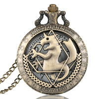 Fullmetal Alchemist Silver/Bronze Pocket Watch Pendant Men's Quartz Pocket Watch Japan Anime Necklace Clock High Grade Gifts Set