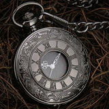 Black Roman Numerals Quartz Pocket Watch Men Women Black Hollow Case Steampunk Vintage Pendant Necklace Best Gifts for Men Women