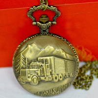 Hot sale truck pocket watch factory direct large small truck retro pocket watch with necklace 8156