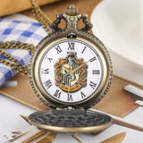 New Arrival 2019 Antique Bronze Hufflepuff Theme Quartz Pocket Watch Roman Numerals Necklace Clock Retro Fob Sweater Chain