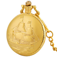 Antique Sailboat Design Pendant Pocket Watch Quartz Movement Retro Pocket Clock Gifts for Men Women