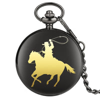 Cowboy Horse Riding Quartz Pocket Watch Classic Chain Pocket Jewelry FOB Watch Factory Direct Wholesale Dropshipping