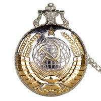 Fashion USSR Soviet Badges Hammer Pocket Watch Retro Russia Army CCCP Quartz Pocket Watch Necklace Clock Chain For Men Women