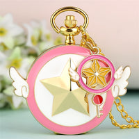 Golden Star with Two Wings Design Quartz Pocket Watch Lovely Pink Girl Pendant Necklace Clock Gifts Students