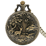 Antique Elk Cranes Design Quartz Pocket Watch Chain Necklace Pendant Steampunk Chain Pocket Fob Watch Clock Gifts Animal Watches