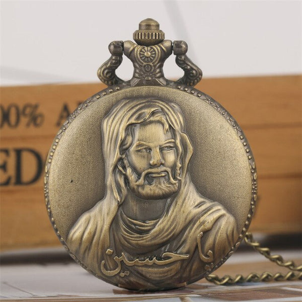 Bronze Jesus Design Necklace Pocket Watch Full Hunter Souvenir Retro Pendant Clock Gifts for Men Women with Fob Chain
