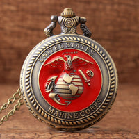 Red Dial Bronze Retro United States Marine Corps Quartz Pocket Watches For Mens FOB Chain Sculpture Unique Fashion Pocket Watch