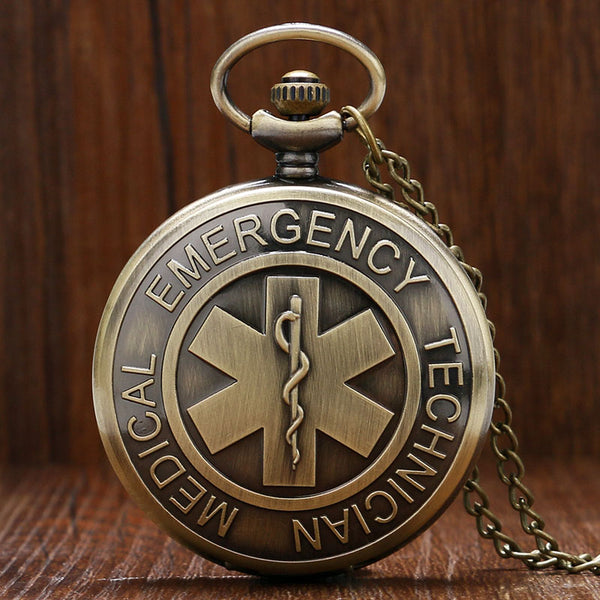Retro EMT Emergency Medical Technician Paramedic Badge EMS Rescue Quartz Nurse Doctor Pocket Watch Necklace Chain Pendant Gifts