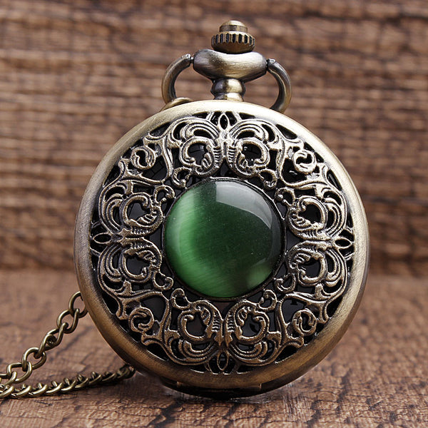 Bronze hollow imitation jade stone necklace pendants decorated Pocket Watch Emerald Decoration presents Chian Men Women Gifts