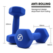 Hexagonal neoprene soft touch dumbbells