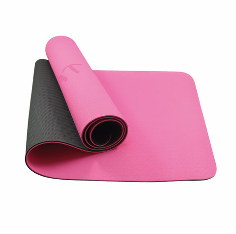 NEW TPE Yoga Mat - double sided Pink/Black with ' Sweat it out '  - In Stock Now!!