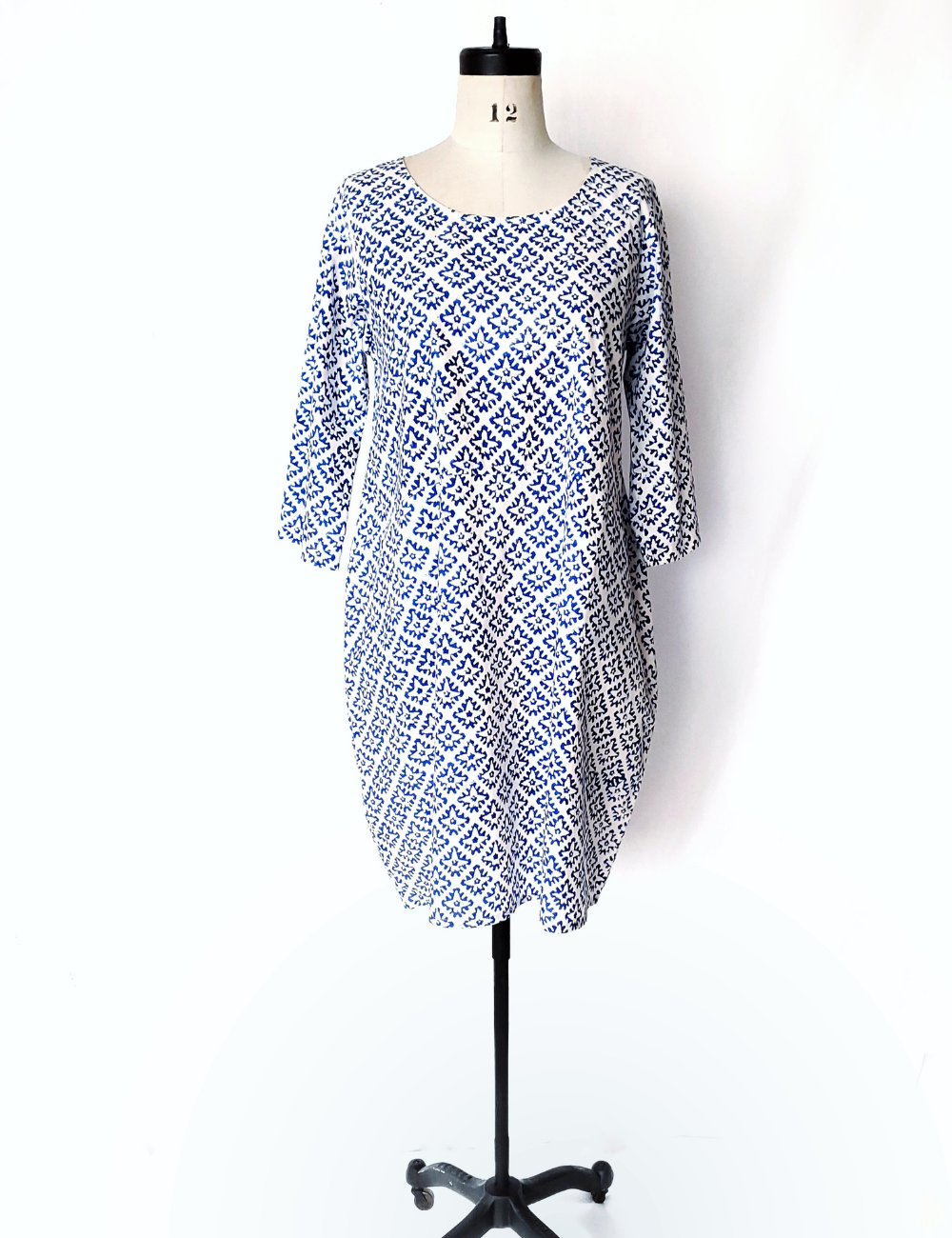 Nadine Dress in BLUE and White CARIMA print
