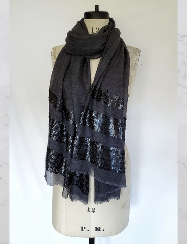 Charcoal PURE WOOL STOLE with sequins