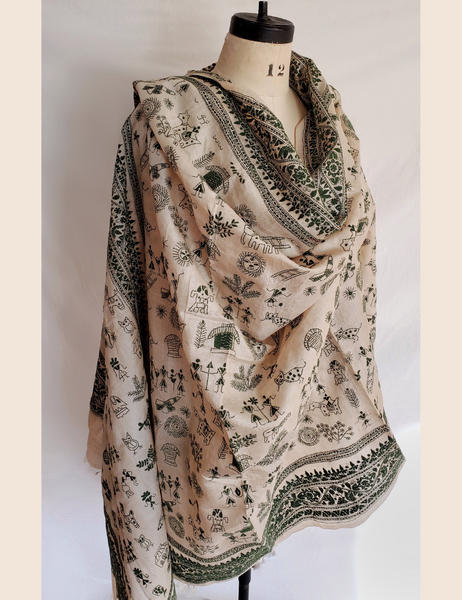 ALLOVER HAND-EMBROIDERED STORY SHAWL