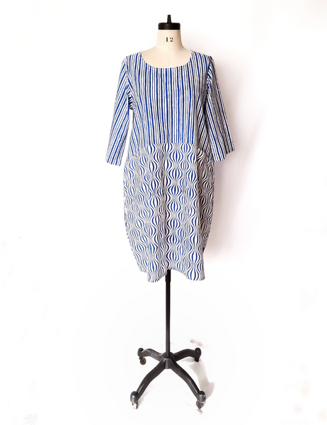 Nadine Dress in Blue and White OP ART wave print