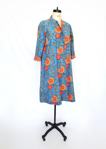 ISABELLA DRESS in Marigold Blue Print