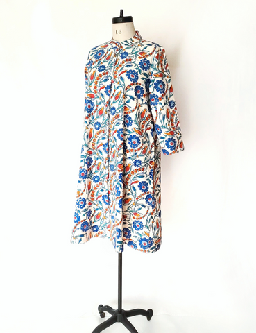 ISABELLA DRESS in Iznik Vine Turquoise Print