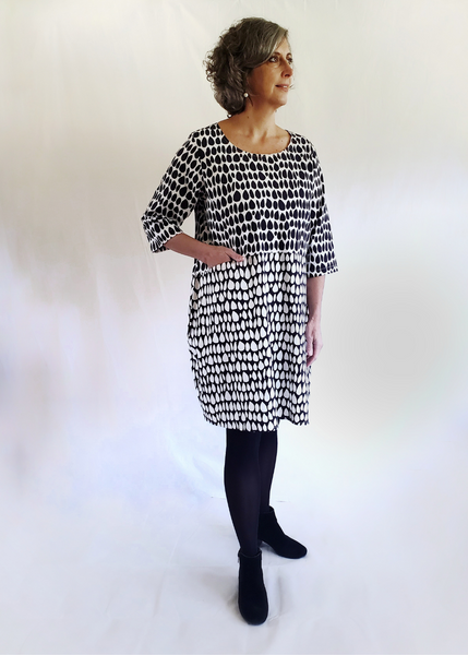Nadine Dress in Black and White Butti print