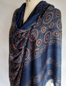AJRAKH INDIGO hand block printed fabric-PURE SILK SATIN - SHIB-11