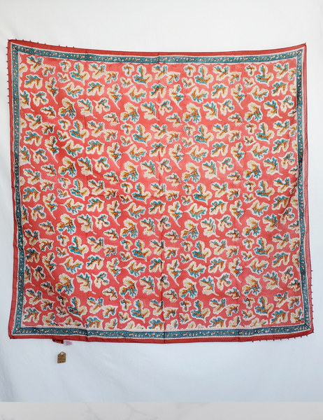 HAND BLOCK PRINTED SQUARE SCARF - CORAL ROLLER PRINT SO-16