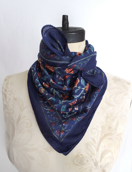 HAND BLOCK PRINTED SQUARE SCARF COTTON CH-75