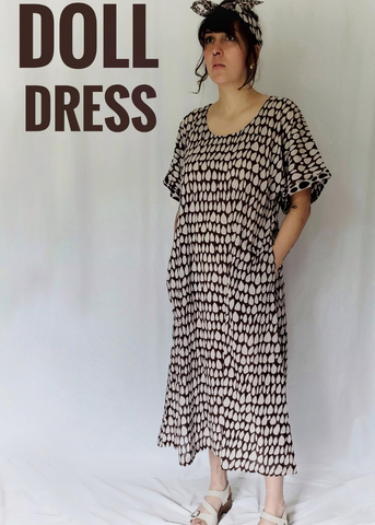 Doll Dress in Ecru-Espresso, Butti print