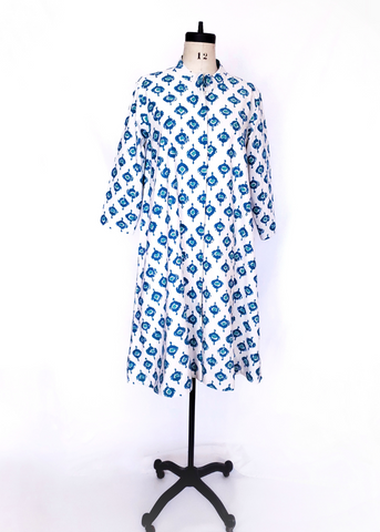 ISABELLA DRESS in Abras Turquoise Print