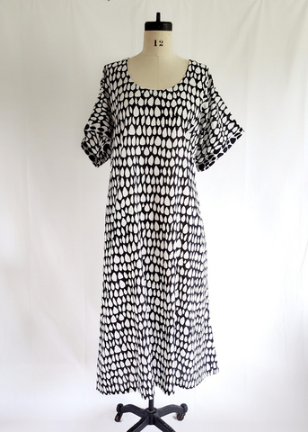 Doll Dress in Black and White, Butti print