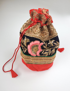 FESTIVE JAIPUR POTLI Hand-embroidered LARGE drawstring pouch
