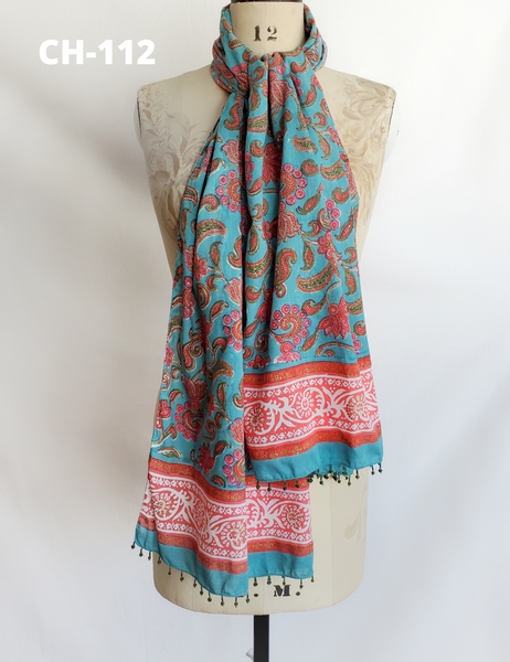 HAND BLOCK PRINTED STOLE SCARF COTTON CH-112