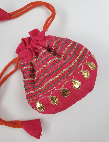 FESTIVE JAIPUR Hand-embroidered SMALL POTLI drawstring pouch