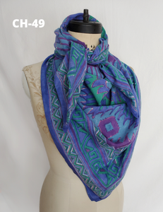 HAND BLOCK PRINTED SQUARE SCARF COTTON CH-49