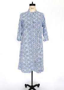 ISABELLA DRESS in Op Art Wave Blue
