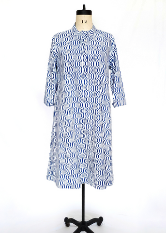 ISABELLA DRESS in Op Art Wave Blue Print
