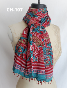 HAND BLOCK PRINTED STOLE SCARF COTTON CH-107