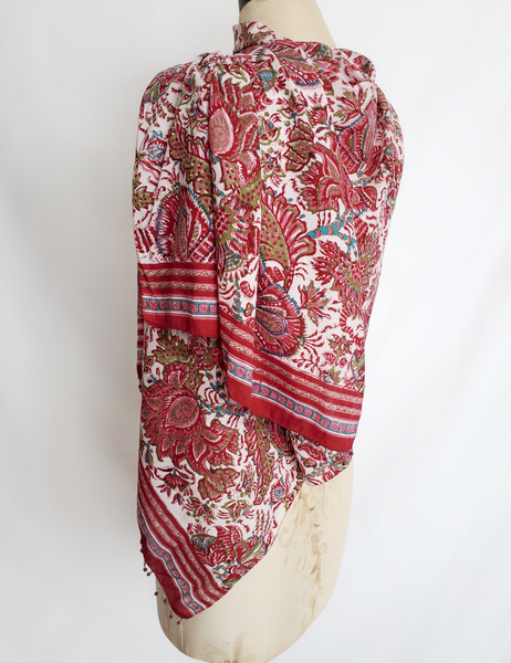 HAND BLOCK PRINTED WIDE STOLE SCARF CH-73
