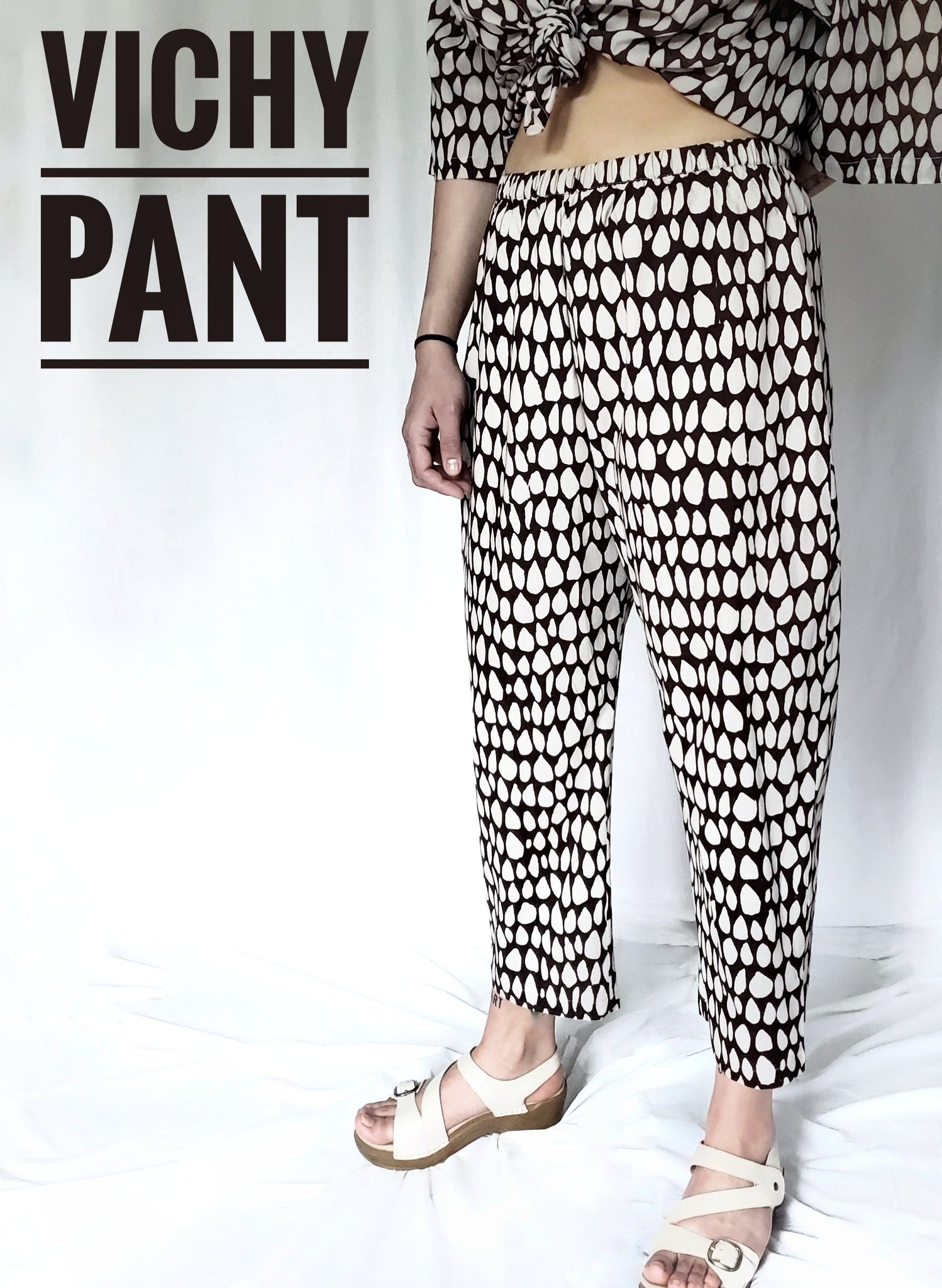 Vichy Pant in Black and White, in Butti print