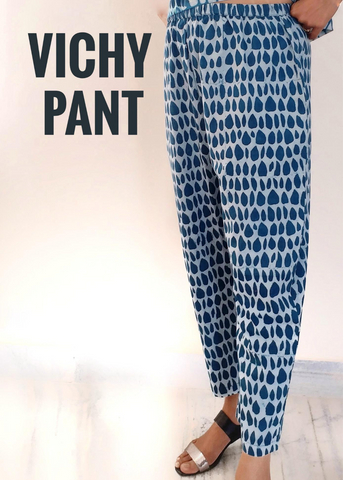 Vichy Pant in Indigo and White, Butti print