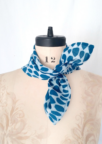Bandana Scarf Indigo and White, Butti print