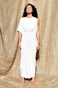 Gold Bottom Arc Dress in White 1