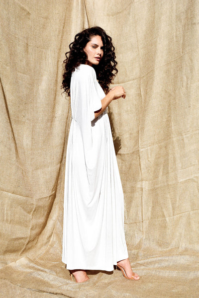 Gold Bottom Arc Dress in White 3