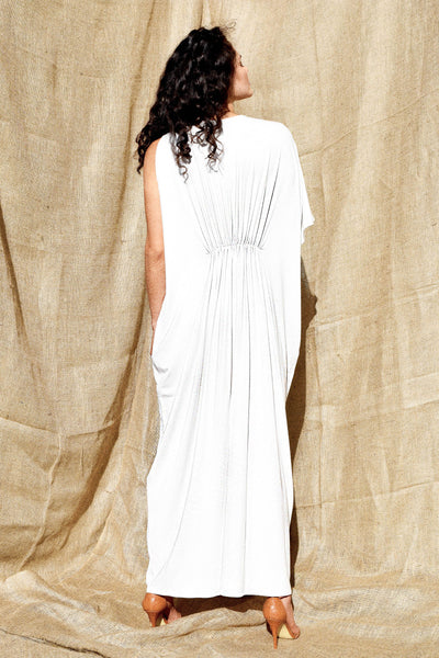 Gold Bottom Arc Dress in White 4